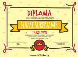 Certificado de certificado de diploma desenhado mão vetor