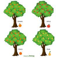 Coleção de árvores frutíferas de vetor fofo