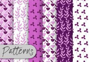 Conjunto de padrões de flores roxas