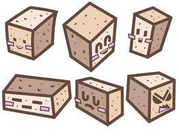 Ilustração de estilo de desenho de desenho de queijo de tofu de vetor