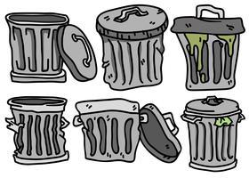 conjunto de vetores de ícones planos da cesta de lixo