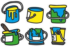 Conjunto de ícones de pote de pintura vetorial