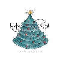 Árvore de Natal Bonito Com Bolas E Citações vetor