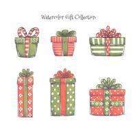 Coleção bonito do vetor dos presentes do Natal para a estação do Natal