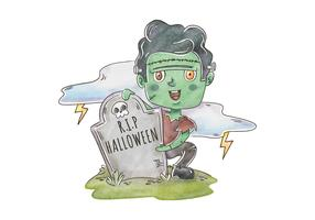 Cute Frankenstein Zombie In Cemetery Scene Vector