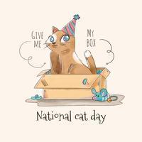 Caráter bonito do gato dentro de uma caixa para o vetor do dia do gato