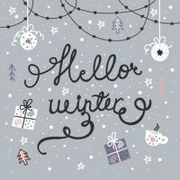 Desenho animado vetor de inverno olá