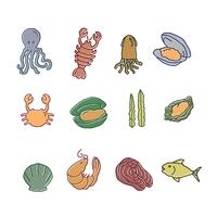 Coleção de frutos do mar desenhados vetor
