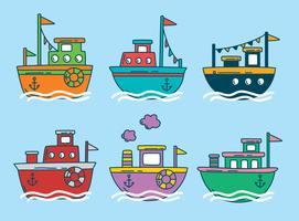 Vector de barco de traineira colorido