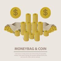 Exemplo de ilustração vetorial da moeda do dinheiro vetor