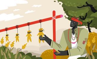 sorgo agricultor colheira vetor ilustração plana