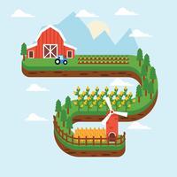 Fundo da fazenda do celeiro vermelho vetor