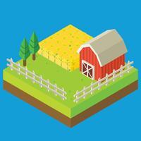 Vector de campo da fazenda isométrica de canola
