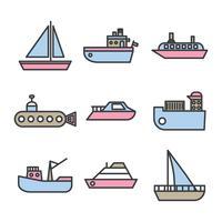 Barcos esboçados e vetores de traineira