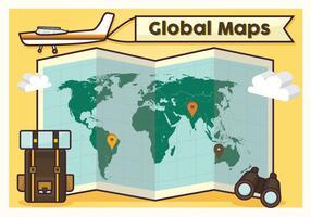 Design Global de Mapas de Mapas de Viagens vetor