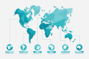 Ilustração global dos mapas vetor