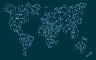 vetor de mapas globais de polígono de linha azul