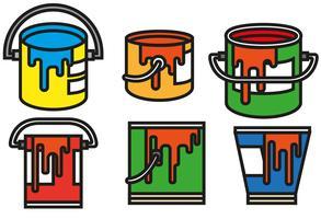 Conjunto de ícones de cores de pote de pintura de vetores
