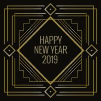 Feliz Ano Novo em estilo Art Deco