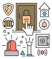 Ícones gratuitos de segurança doméstica vetor