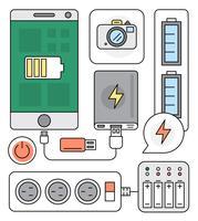 Elementos vetoriais da fonte de energia vetor