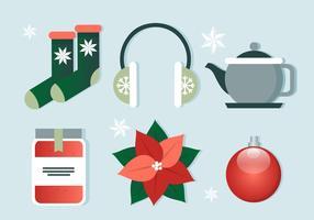 Elementos grátis do Natal do vetor Flat Design
