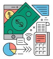 Ilustração vetorial linear de pagamento linear vetor