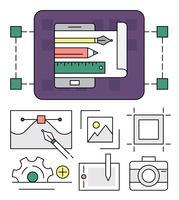 Ferramentas Lineares de Designer Gráfico vetor