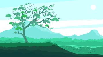 Gum Tree ao lado do rio Free Vector