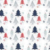 Padrão das árvores de natal desenhadas à mão vetor