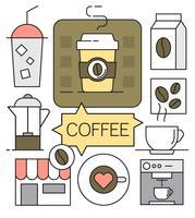 Ícones de café lineares gratuitos vetor