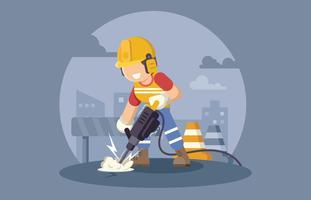 Trabalhador da construção com broca de martelo pneumático vetor