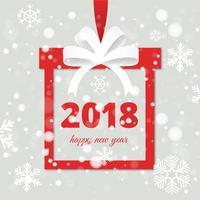 Cartão de cartão de Ano Novo de design plano gratuito vetor