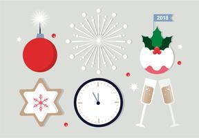 vector plano grátis elementos do ano novo vetor