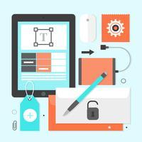 Elementos gratuitos para escritório de vetores de design plano