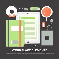 Elementos de escritório digital de design plano gratuito vetor