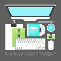 Elementos do Office Home do Vector Flat Design grátis