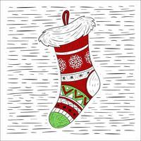 Ilustração desenhada mão da peúga do Natal desenhada mão vetor