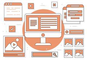 Ilustração de Elementos da Web do Vector de Desenho Plano Gratuito