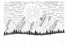 Ilustração desenhada mão da paisagem do vetor desenhada mão