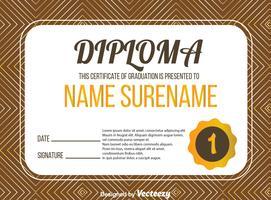 Certificado de diploma com vetor de linha abstrata