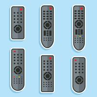 Coleção remota de TV no vetor azul