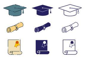 Conjunto de ícones do diploma vetor