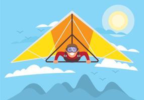 Man On Hang Glider Vector