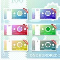 Amostra de dinheiro para coleção de símbolos de pagamento vetor