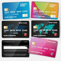 Conjunto de cartões de crédito realista vetor