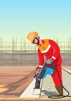 Trabalhador do construtor com vetor de broca pneumática