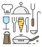 Vetores de utensílios de cozinha em estilo minimalista de design