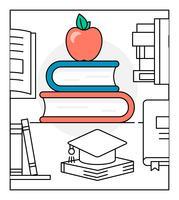 Ícones de vetor de educação linear