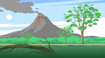 árvore de goma e vetor livre de vulcão